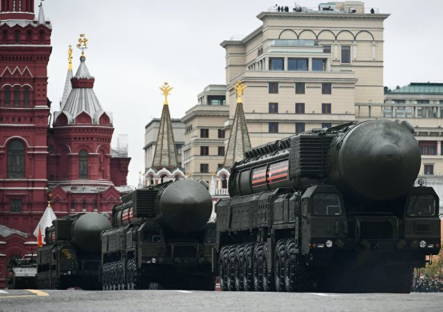 An RS-24 Yars / SS-27 Mod 2 solid-propellant intercontinental ballistic missile during the military parade marking the 72nd anniversary of Victory in the 1941-45 Great Patriotic War on Red Square, Moscow
