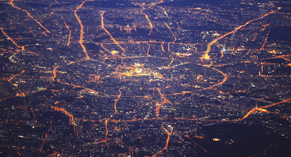 A view of Moscow at night from an airplane