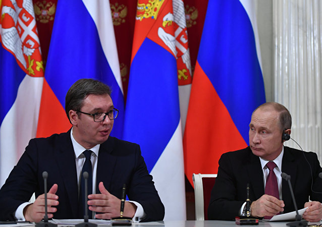 Russian President Vladimir Putin and Serbian President Aleksandar Vucic during a joint press statement following Russian-Serbian talks