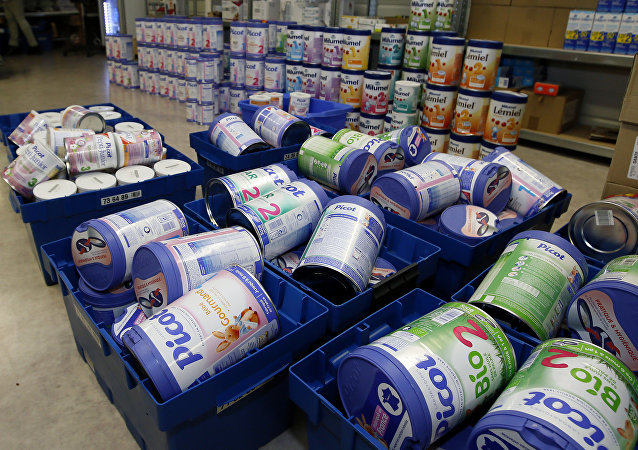 This Monday, Dec.11, 2017 file picture shows removed baby milk boxes pictured in a drugstore, in Anglet, southwestern France