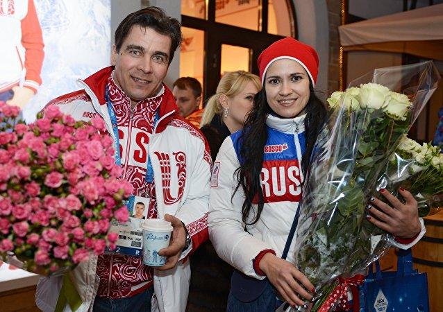 Olympic medalists in luge Albert Demchenko and Tatyana Ivanova at the Bosco Bar in Sochi. (File)