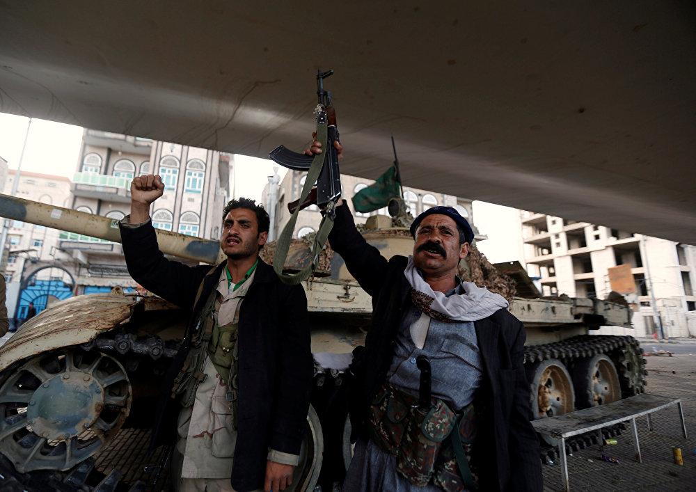 Houthi fighters in Sanaa, Yemen