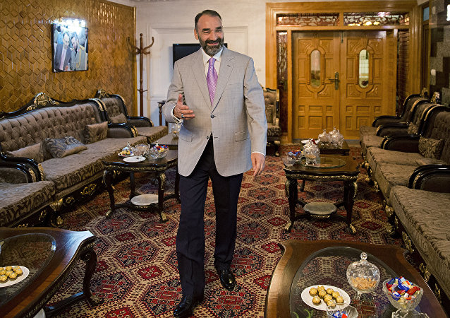 Atta Mohammad Noor, governor of the Balkh province, arrives for an interview with The Associated Press at his home in Kabul, Afghanistan, Monday, Aug. 3, 2015.