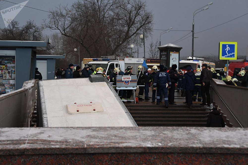 A bus has driven into a pedestrian underpass in the center of Moscow