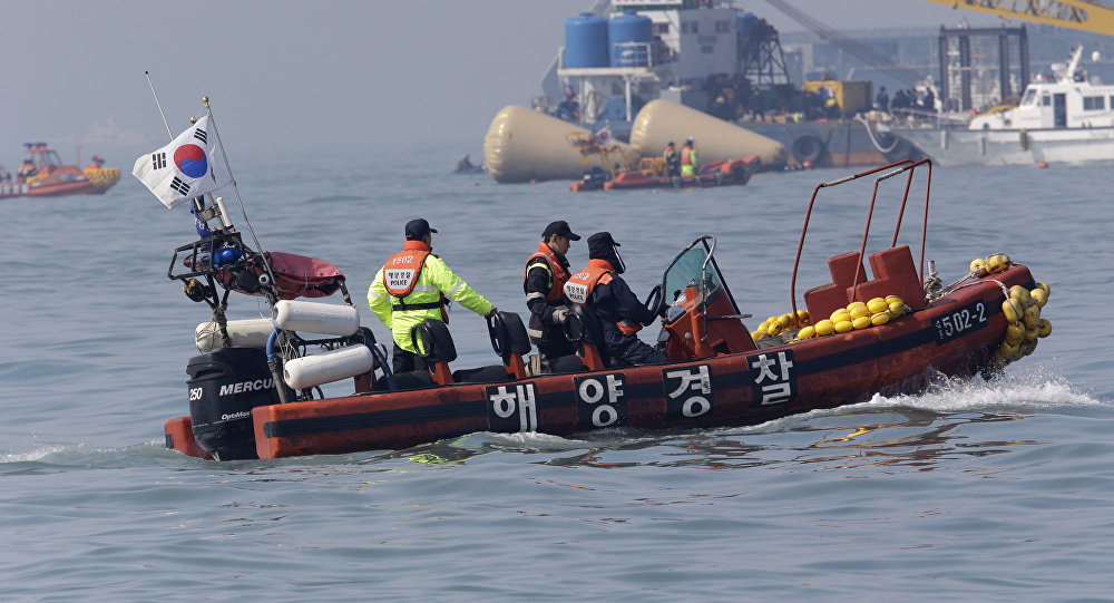 South Korean Coast Guard police officers on a boat (File)