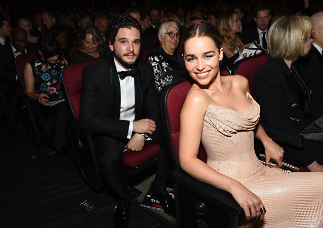 Kit Harington, left, and Emilia Clarke appear in the audience at the 68th Primetime Emmy Awards on Sunday, Sept. 18, 2016, at the Microsoft Theater in Los Angeles