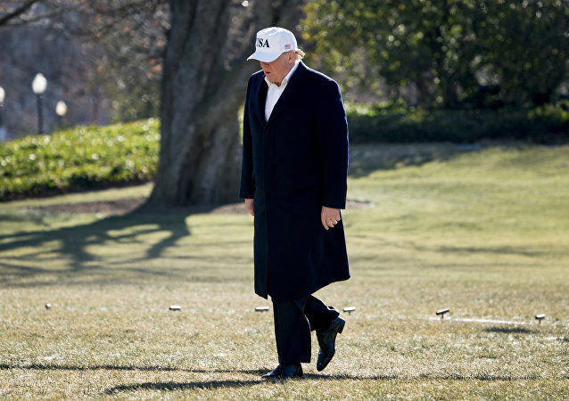 US President Donald Trump walks across the South Lawn as he arrives at the White House in Washington, Jan. 7, 2018