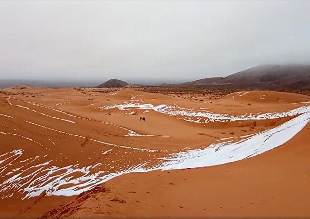 View of snow in the Sahara, Ain Sefra, Algeria