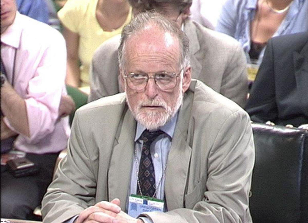 FILE -- July 18 2003 image from television of Dr David Kelly during questioning by the Commons select comittee