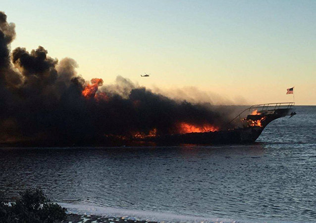 A fire breaks out on a SunCruz casino boat at Port Richey, Florida