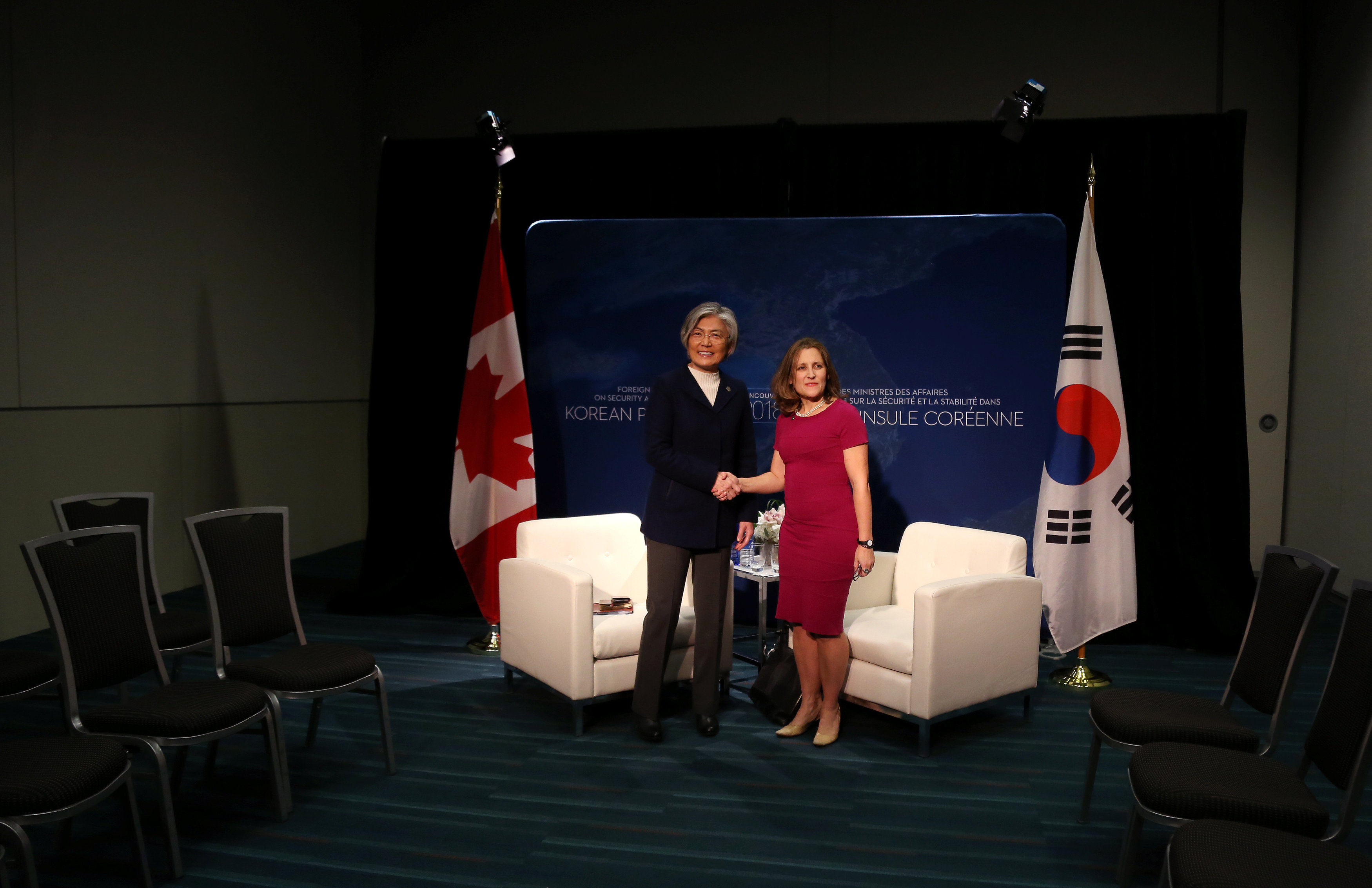 Canada's Minister of Foreign Affairs Chrystia Freeland holds a bilateral meeting with the South Korean Minister of Foreign Affairs Kang Kyung-wha in Vancouver, British Columbia, Canada, January 15, 2018