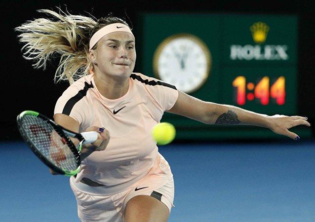 Tennis - Australian Open - Rod Laver Arena, Melbourne, Australia, January 16, 2018. Belarus' Aryna Sabalenka in action during her match against Australia's Ashleigh Barty.