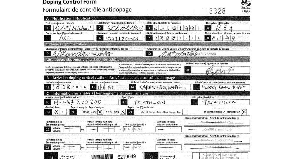 Henri Schoeman's Doping Control Form, Noting His Use of Prednisolone © Sputnik