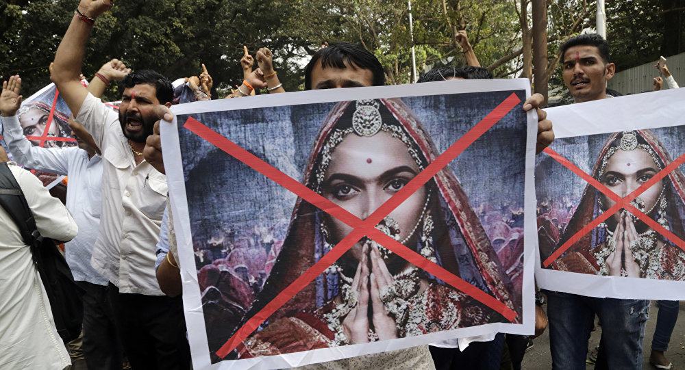 People shouts slogans to demand ban on Bollywood movie Padmavat near the Central Board of Film Certification center in Mumbai, India