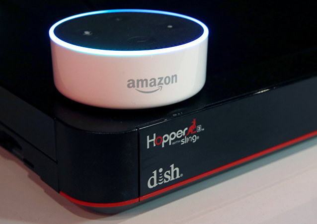 An Amazon Dot is shown on top of a Hopper at the Dish Network booth during the 2017 CES in Las Vegas, Nevada January 6, 2017. Dish is introducing an Ask Hopper Skill that will allow customers to control the Hopper using the Alexa Voice Service.