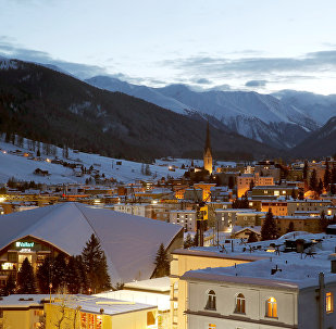 A night view shows the Swiss mountain resort of Davos, Switzerland, January 11, 2018