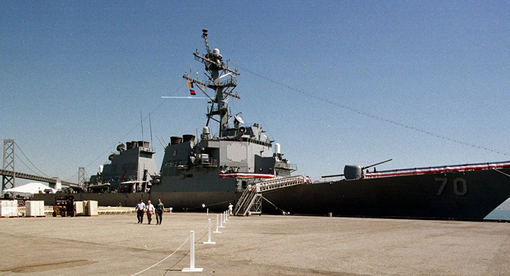 The destroyer USS Hopper, named for the late Rear Admiral Grace Murray Hopper, docked at San Francisco