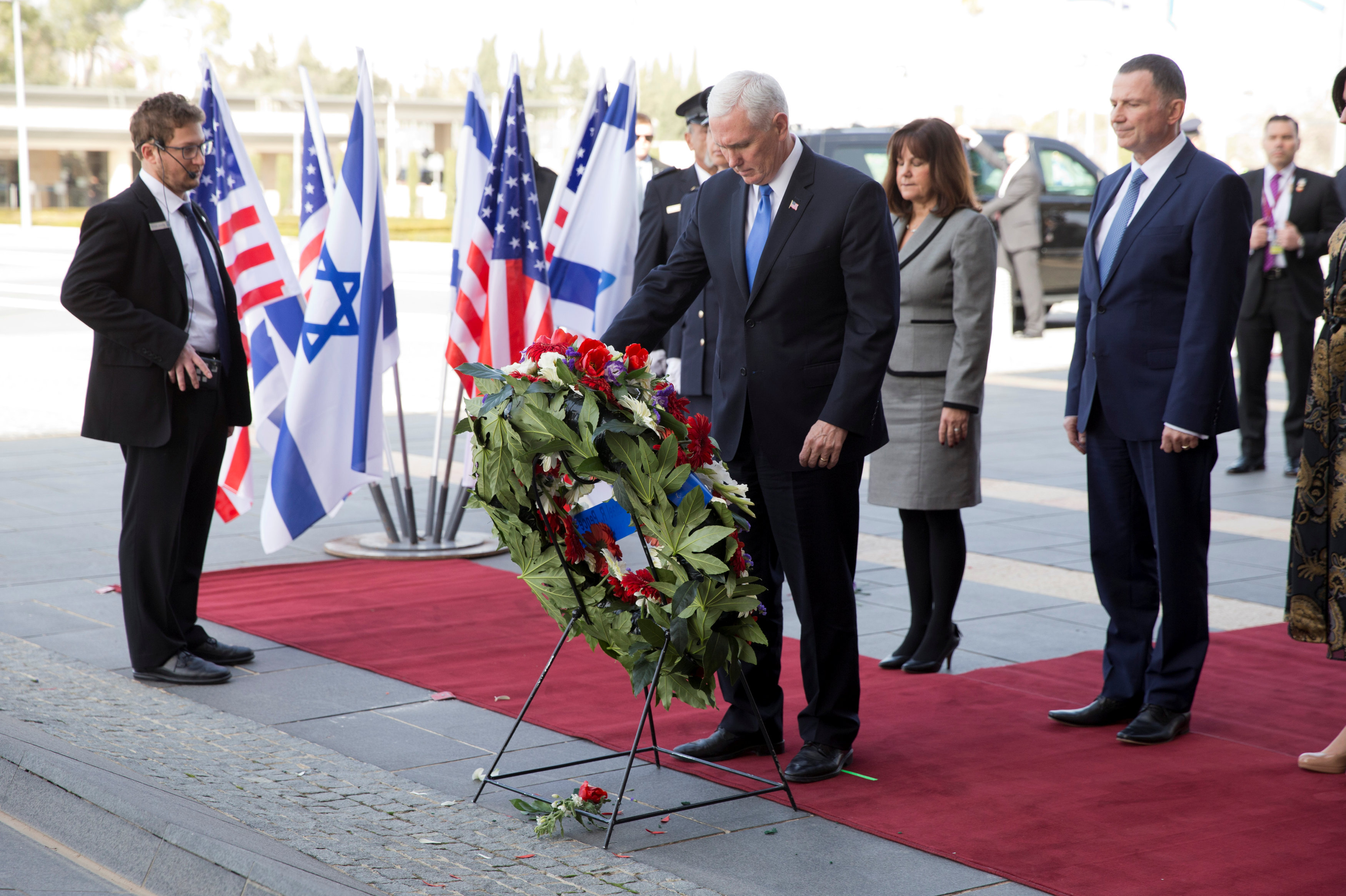 U.S. Vice President Mike Pence lays a wreath during a formal reception ceremony at the Knesset, Israeli Parliament, in Jerusalem January 22, 2018