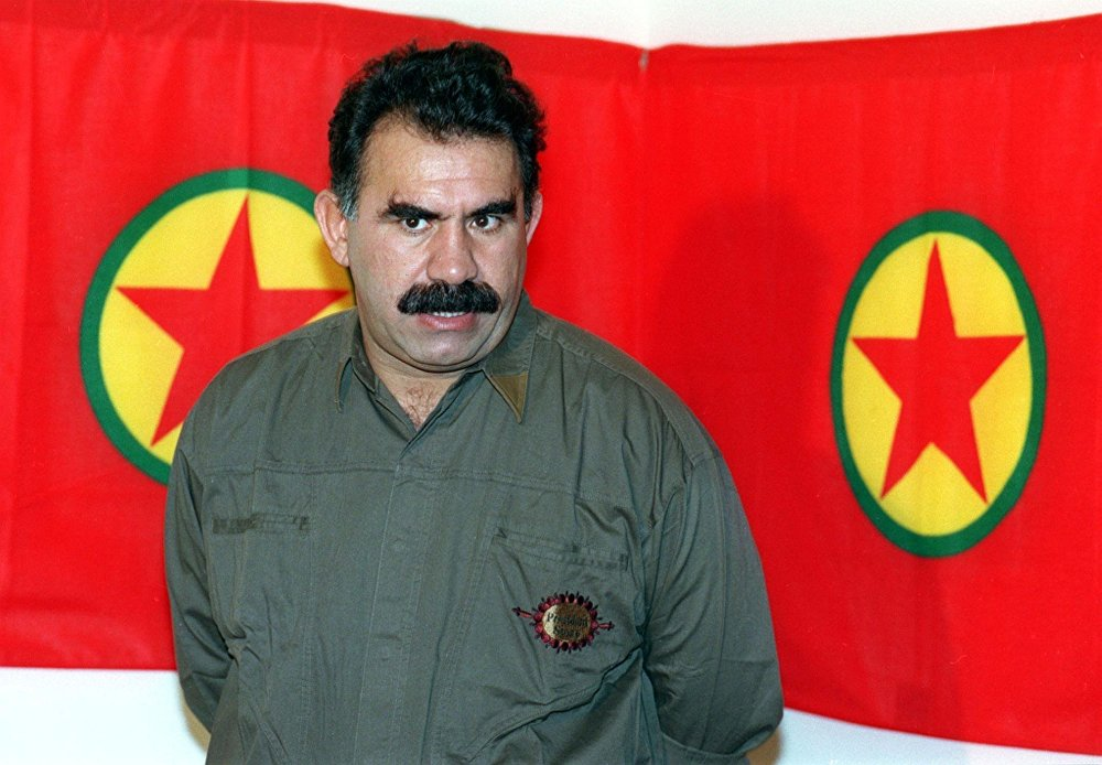 A file photo taken 28 September 1993 shows Kurdish rebel chief Abdullah Ocalan giving a press conference in Masnaa on the Lebanon-Syria border