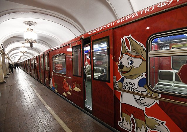An official 2018 FIFA World Cup metro train dedicated to the World Cup history. File photo
