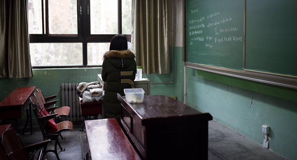 A female student in a classroom at Beihang University in Beijing. File photo