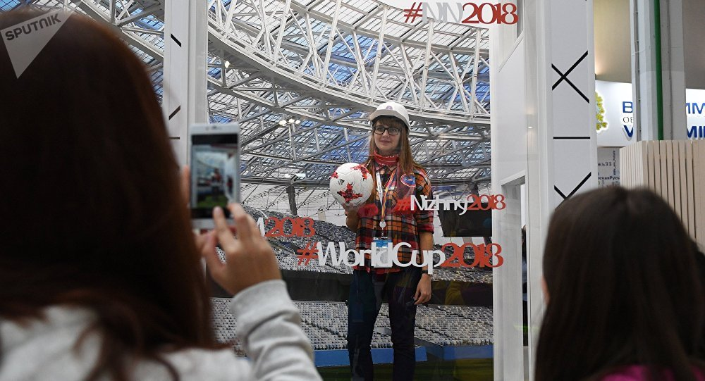Stand of Nizhny Novgorod, a host city of the 2018 FIFA World Cup, at Youth Expo in Sochi during the 19th World Festival of Youth and Students