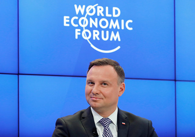 Poland's President Andrzej Duda attends the World Economic Forum (WEF) annual meeting in Davos, Switzerland