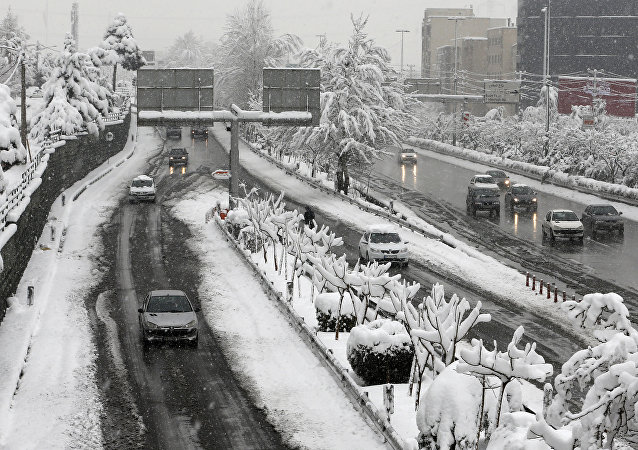 A picture taken on January 28, 2018 shows roads covered in snow in the Iranian capital Tehran