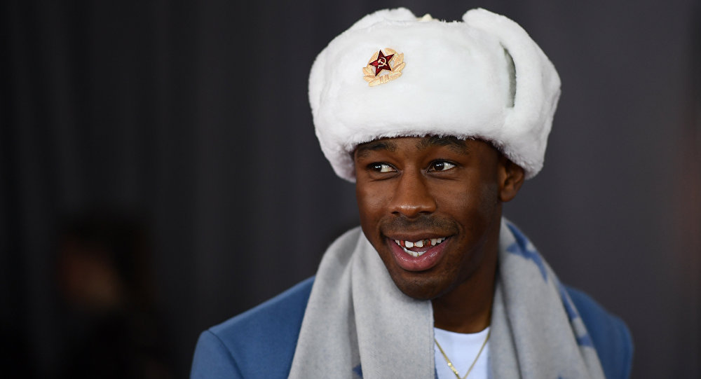 Tyler, the Creator arrives for the 60th Grammy Awards on January 28, 2018, in New York