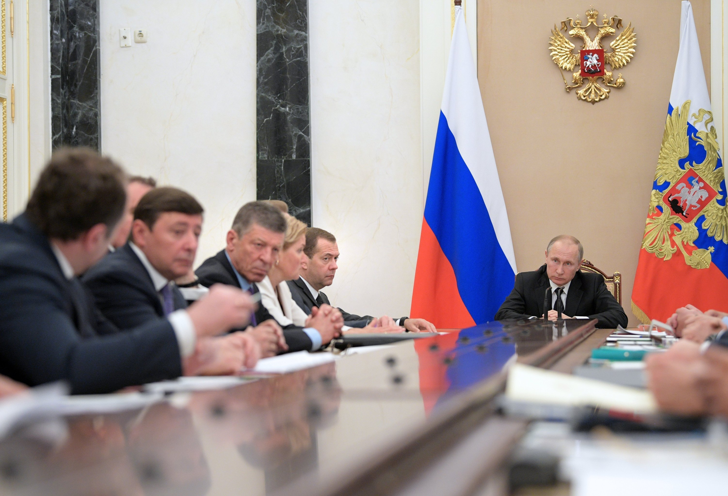 President Vladimir Putin and Prime Minister Dmitry Medvedev at a Government meeting in Kremlin