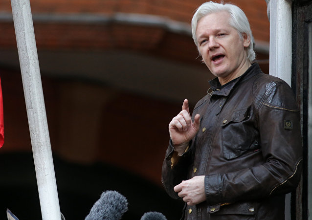 Wikileaks founder Julian Assange speaks on the balcony of the Embassy of Ecuador in London on May 19, 2017.