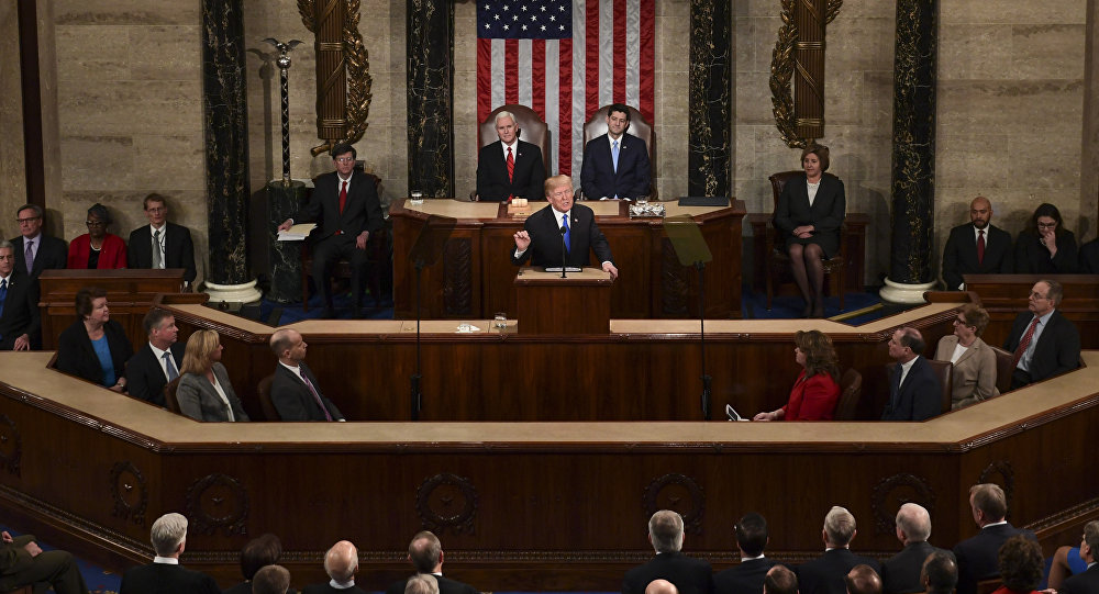 President Donald Trump delivers his State of the Union address to a joint session of Congress on Capitol Hill in Washington, Tuesday, Jan. 30, 2018