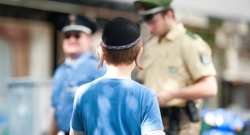 A boy wears a kippah (File)