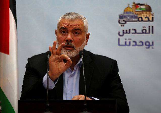 Hamas Chief Ismail Haniyeh gestures as he delivers a speech in Gaza City January 23, 2018