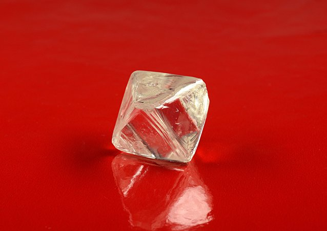 One of the two large diamonds found at the Yubileynaya mine in Yakutia.