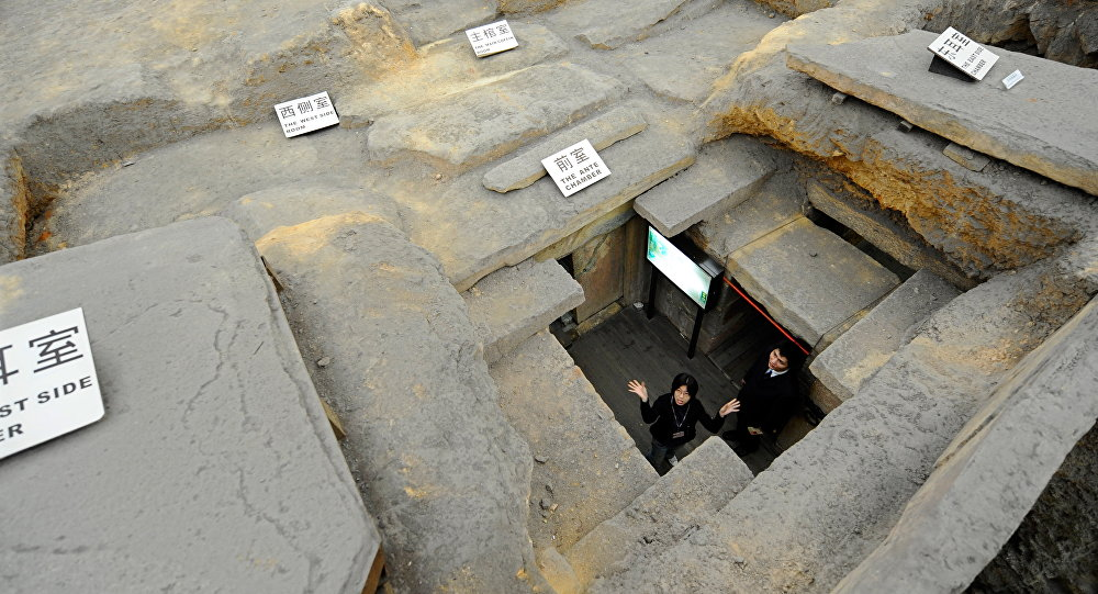 visitors visiting tomb of the remains of the 2,000 year-old Nanyue Kingdom Palace in Guangzhou, Guangdong Province of China