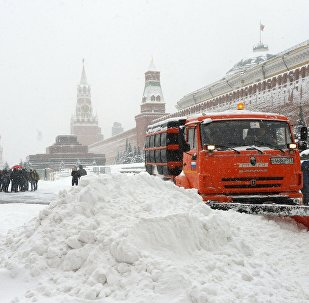 Snowplows on Red Square in Moscow