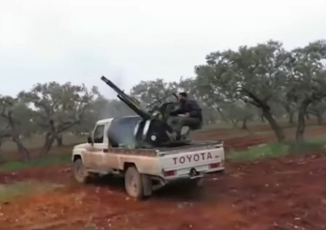 Militants shooting at the Russian Su-25SM fighters. Screenshot.