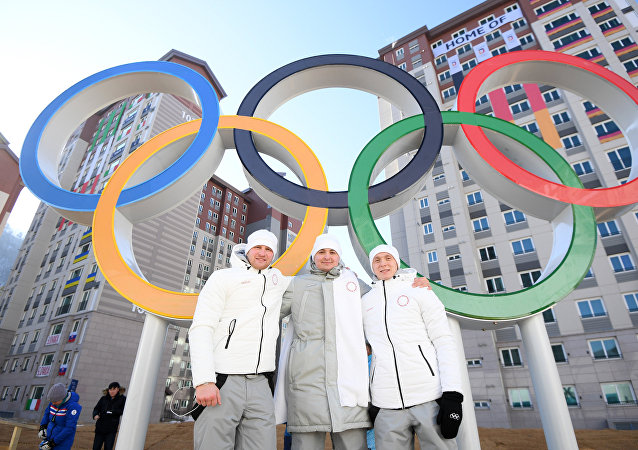 Russian athletes in the Pyeongchang Olympic Village