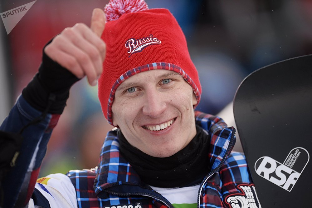 Russia's Andrey Sobolev after men's giant parallel slalom finals at the FIS World Snowboard Championship in Lachtal, Austria, during the awarding ceremony. (File)