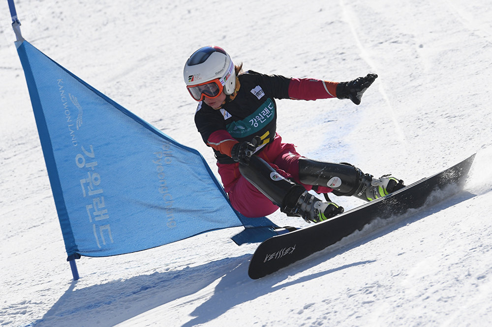 Ekaterina Tudegesheva (Russia) competes in the men's parallel giant slalom at the FIS Snowboard World Cup stage in Pyeongchang. (File)