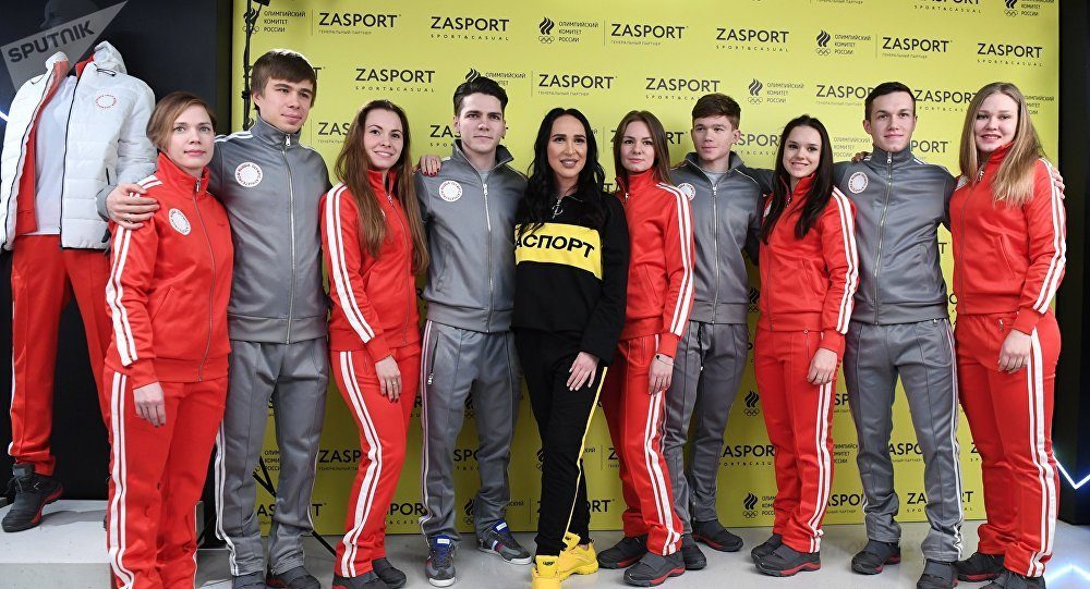 Athletes of the Russian short-track team and designer Anastasia Zadorina (center) at the presentation of outfits of the Russian team for the 2018 Winter Olympics in the Zasport signature store