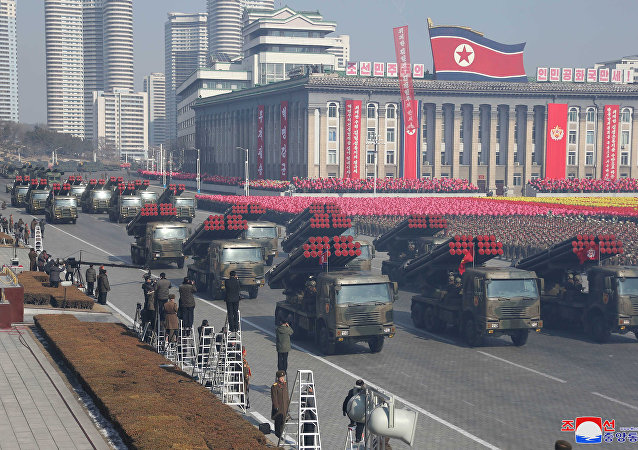 Military vehicles are seen at a grand military parade celebrating the 70th founding anniversary of the Korean People's Army at the Kim Il Sung Square in Pyongyang, in this photo released by North Korea's Korean Central News Agency (KCNA) February 9, 2018.