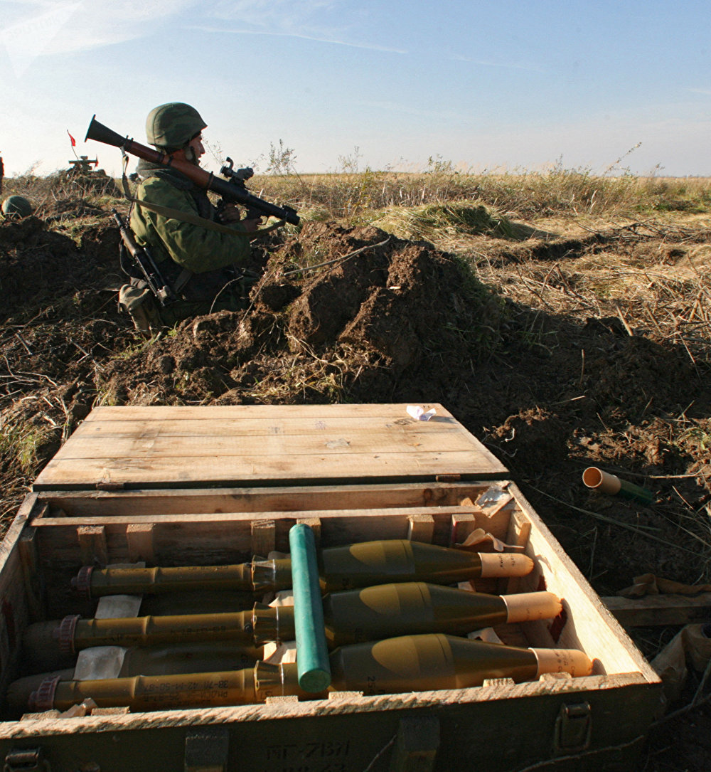 Soldier operating an RPG-7 grenade launcher at a tactical exercise of the assault combat battalion of the Baltic fleet at Pavenkovo training ground, Pravdinsk district, Kaliningrad region