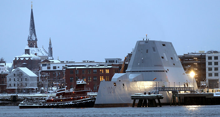 The future USS Michael Monsoor docks in Portland, Maine, following offshore sea trials, Wednesday, Jan. 17, 2018. The Bath Iron Works-built ship is the second in the Zumwalt class of stealth destroyers.