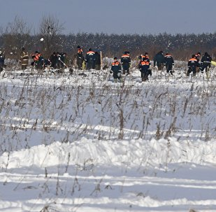 Russian EMERCOM personnel in the Ramensky district of the Moscow region, where an An-148 passenger plane of the Saratov Airlines performing Flight 703 from Moscow to Orsk crashed on February 11, 2018.