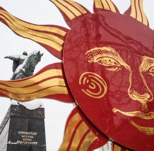 Maslenitsa celebration decorations by the monument to Yury Dolgoruky at Tverskaya Street in Moscow
