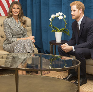 Britain's Prince Harry and First Lady of the United States Melania Trump hold a bilateral meeting ahead of the start of the 2017 Invictus Games in Toronto, Canada, Saturday Sept. 23, 2017.