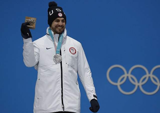 Medals Ceremony - Luge - Pyeongchang 2018 Winter Olympics - Men's Singles - Medals Plaza - Pyeongchang, South Korea - February 12, 2018 - Silver medalist Chris Mazdzer of the U.S on the podium.