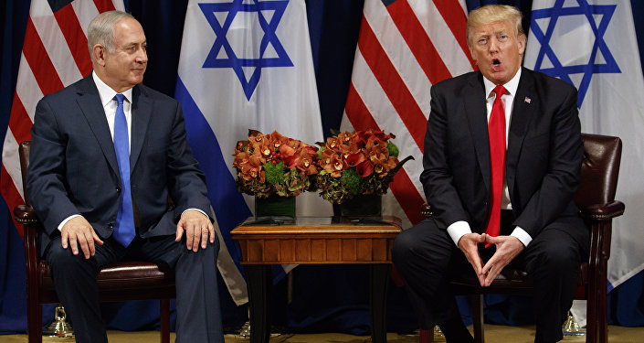 President Donald Trump speaks during a meeting with Israeli Prime Minister Benjamin Netanyahu at the Palace Hotel during the United Nations General Assembly, Monday, Sept. 18, 2017, in New York.